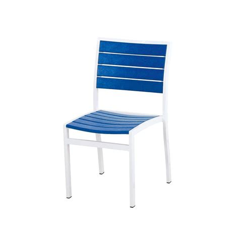 polywood satin white pacific blue patio dining side