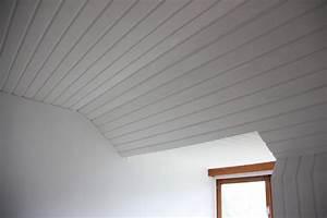 modern peindre plafond lambris vernis lasur au pistolet With peindre un plafond en lambris