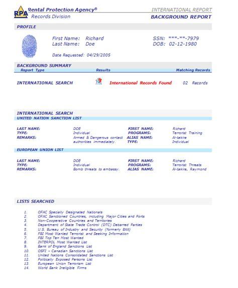 Advantage Background Check Sle Report Rpa Tenant Screening Tenant Credit Criminal Evictions