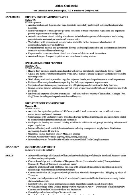 Import Resume Into Template by Imports Purchase Resume Import Export Manager Cv Sle