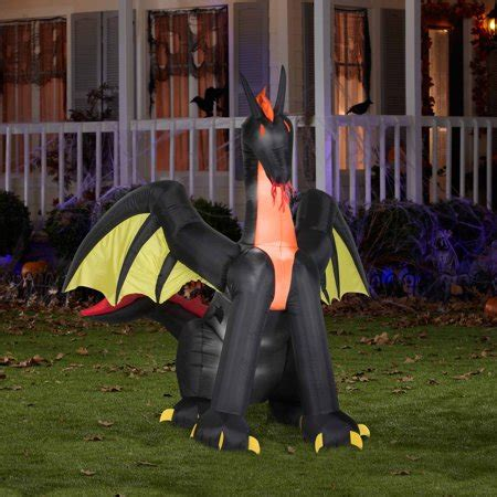 airblown inflatables animated fire dragon  wings halloween decoration walmartcom