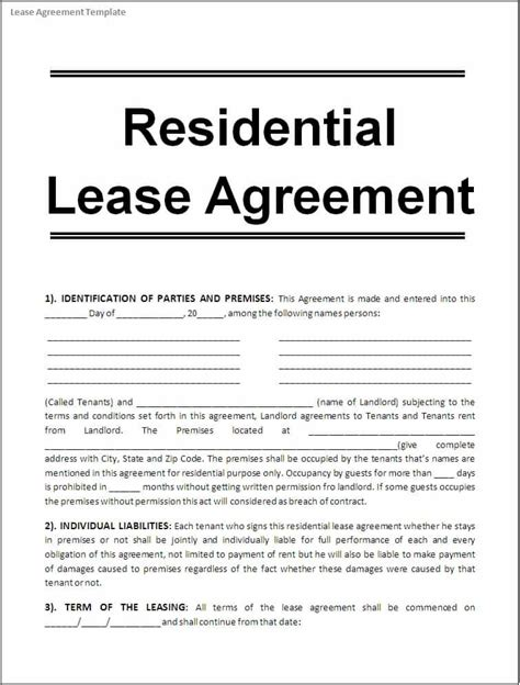 apartment rental lease agreement form word trainingable