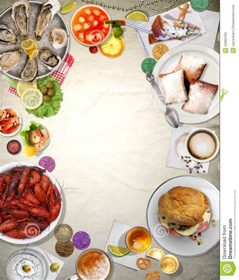 l cuisine background orleans cuisine stock illustration