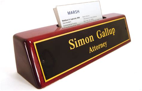 desk name plate with card holder rose wood nameplates and desk nameplates with business