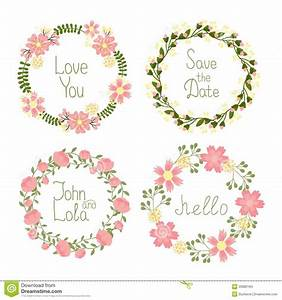 Floral Frame Wreaths For Wedding Invitations Stock Vector ...