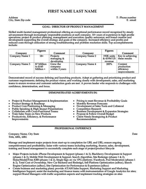 product manager resume sle template