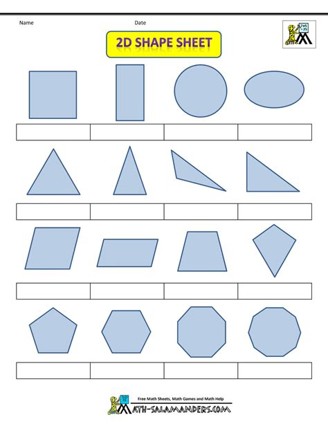 superworksheet 2d shapes worksheets year 5 inspiracao activities