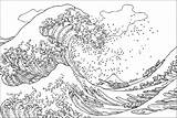 Coloring Hokusai Wave Kanagawa Tsunami Japanese Famous Artist Vague Coloriage Grande Ukiyo Woodblock Pages Printable Adult Masterpieces Template Inspired Very sketch template