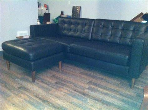 Mid Century Leather Karlstad Sofa & Ottoman
