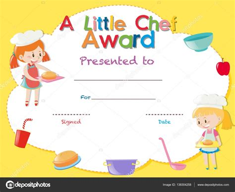 certificate templates with photos certificate template with kids cooking stock vector