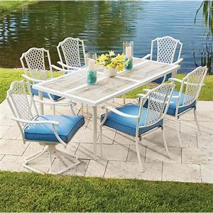 Hampton bay alveranda piece metal outdoor dining set with for Patio furniture covers near me