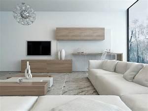 Meuble Salon Blanc : salon blanc moderne avec les meubles en bois illustration ~ Dode.kayakingforconservation.com Idées de Décoration