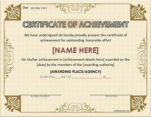 Customizable Award Certificates Certificates Of Achievement For Word Professional