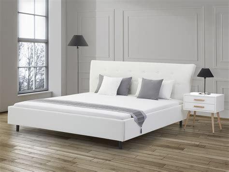 Lit Design En Cuir  Lit Double 180x200 Cm Blanc