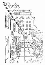 Coloring Town Nice Adult Adults Colouring Printable Pintar Sheets Stress Perspective Dibujos Colorear Drawing Paisajes Colorir Coloriage Desenhos Relieving Adultos sketch template