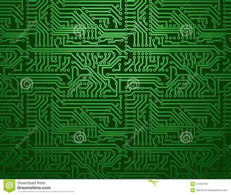 Vector Circuit Board Green Background Stock Image