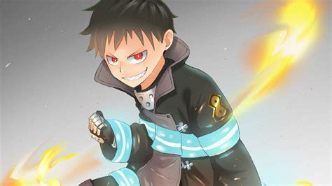 Fire Force Shinra Kusakabe On Fire With Gray Background Hd