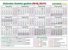 Školski KALENDAR za 20182019 s Uskrsnim i zimskim