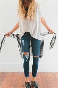 Sportliche Outfits Damen : zerrissene jeans 42 styling ideen damit ~ Frokenaadalensverden.com Haus und Dekorationen