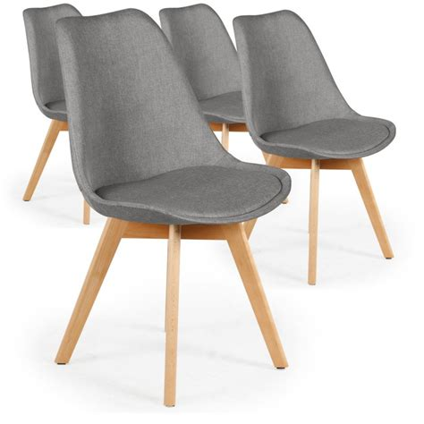 chaise grise tissu chaise scandinave en tissu gris ericka lot de 4 pas cher
