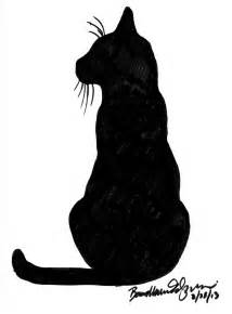 Black Cat Sitting Silhouette