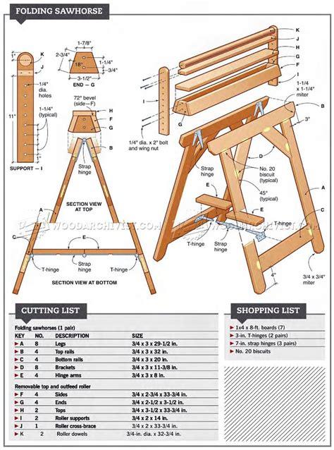 folding sawhorse plans woodarchivist