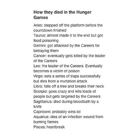 what does the hunger sign how they died in the hunger games astrology zodiac signs