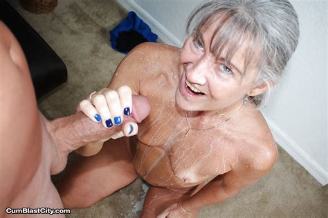 Aged Grey Haired Woman Jerks Fat Cock Pov Style For