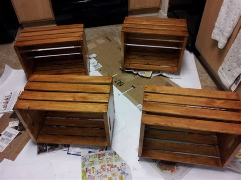If desired, you can apply two coats of stain to give your coffee table a finished look, or to match other furniture. How To Make A Coffee Table Out Of Old Wine Crates Easy DIY Project