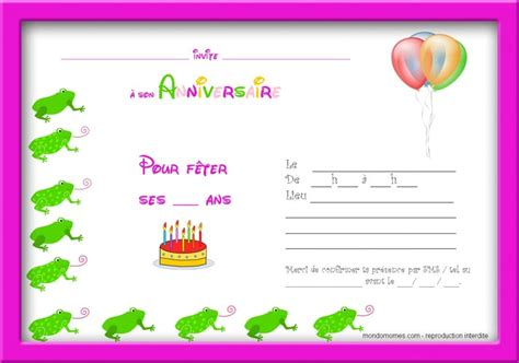 Carte d'invitation pour un anniversaire de 10 ans (âge inscrit sur la carte) à imprimer gratuitement sur une feuille pliable en 2. Carte Invitation Anniversaire Gratuite