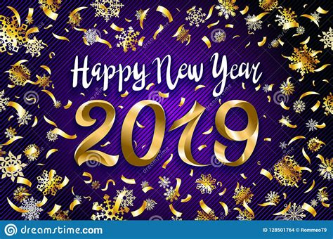 Vector Gold Happy New Year 2019 Text Design. Greeting