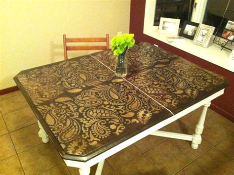 painted kitchen table ideas painting ideas with stencils diy paisley tabletop