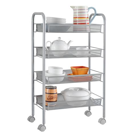 4 tier rolling wire shelf kitchen storage utility trolley