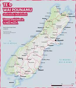 Te Wai Pounamu  Te Reo Maori Map Of South Island Towns And