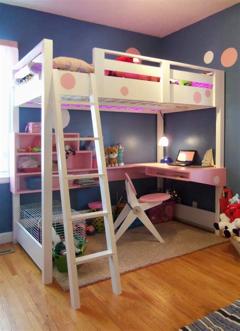 white loft bed with desk diy projects