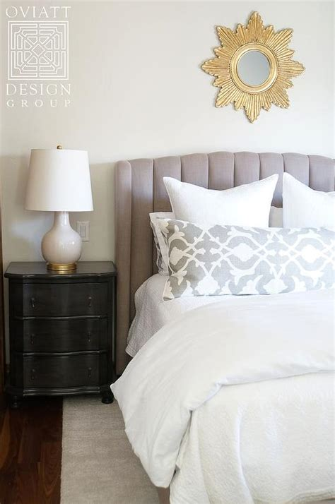 black nightstand  white lamp transitional bedroom