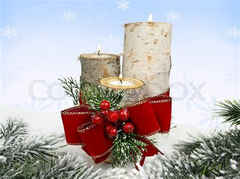 Birch Stump Candle Holders And Red