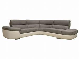 Canapé D Angle Conforama : canap d 39 angle fixe droit 4 places alban coloris blanc gris en pu tissu vente de canap cuir ~ Teatrodelosmanantiales.com Idées de Décoration