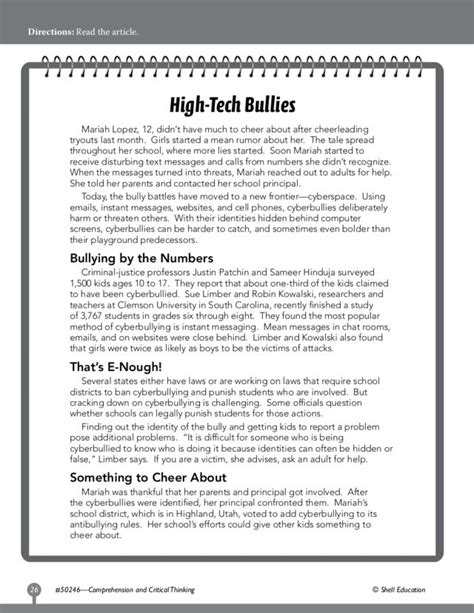 reading comprehension quot high tech bullies quot worksheet for