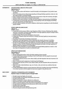 Food Specialist Resume Samples