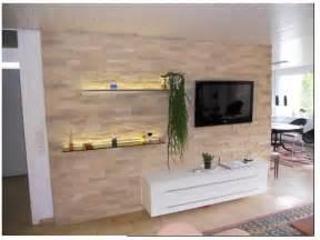 wohnzimmer mit steinwand trends