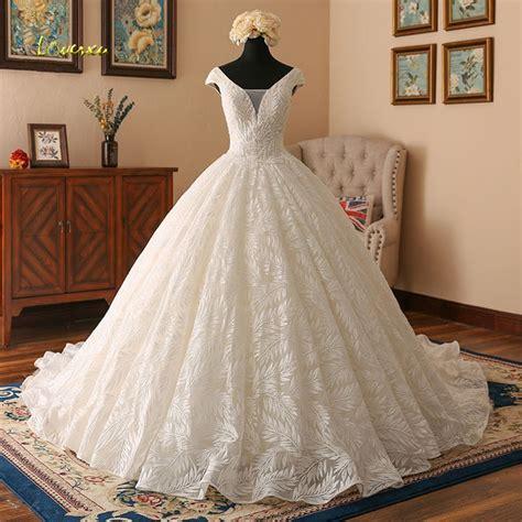 Loverxu Vestido De Noiva V Neck Lace Ball Gown Wedding