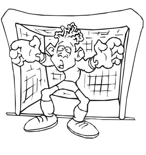 Goal Kleurplaat by Soccer Coloring Page Worried Goalkeeper