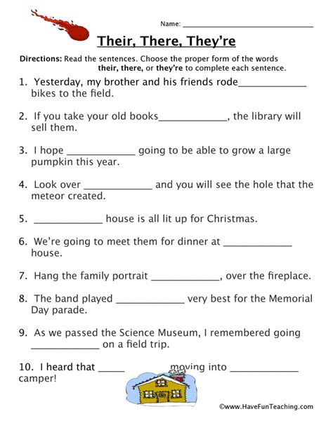 homophone worksheet their there they re