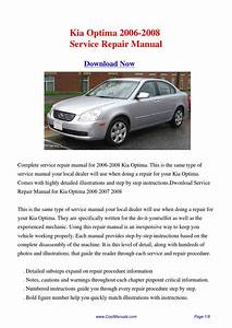 Kia Optima 2006-2008 Repair Manual Pdf By Linda Pong