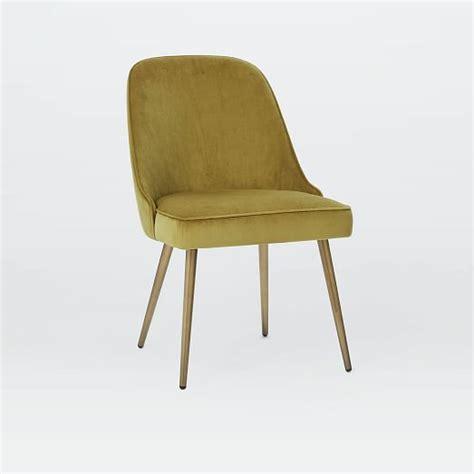 mid century upholstered dining chair velvet west elm