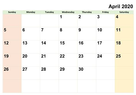 blank april  calendar printable  notes  set