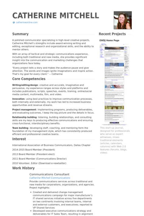 communications consultant resume sles visualcv resume