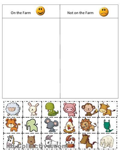 kindergarten farm cut and paste worksheets farm sort