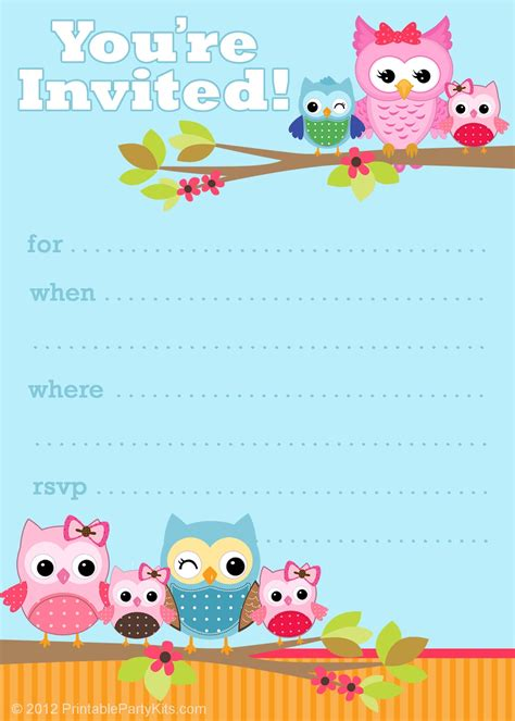 invitation party templates 6 smart owl baby shower invitations printables ideas for